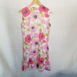 1960s Sweet Pink Poppy Print Dress